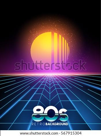 retro 1980's style neon digital