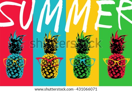 Retro 80s summer concept illustration of pop art pineapple fruit with hipster eye glasses and colorful background in vibrant colors. EPS10 vector.