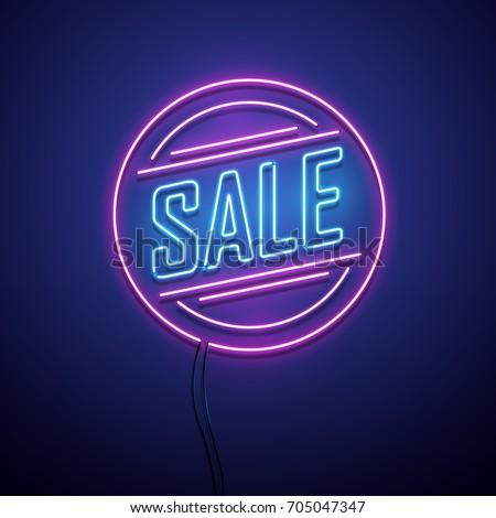 Retro sale neon sign. Vector illustration.