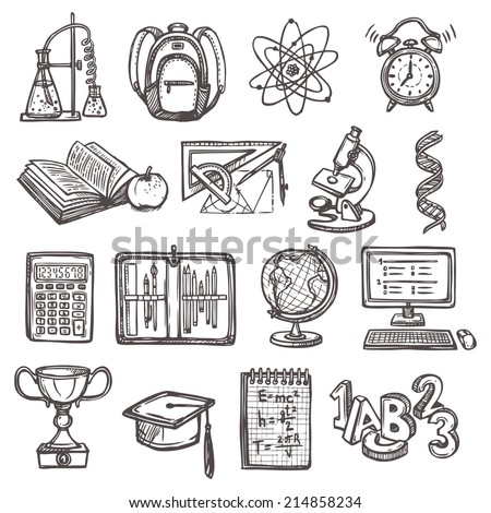 Retro school education sketch icons set of backpack alarm clock globe isolated vector illustration