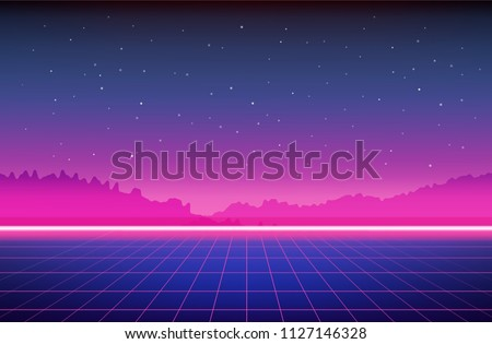 Retro Sci-Fi Background with mountains. Futuristic Vector illustration in 80s posters style.