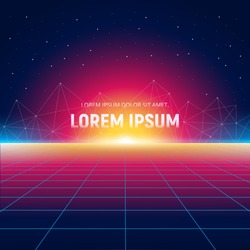 Retro Sci-Fi background with sunrise, polygons connection structure and grid planet. Trendy neon in vintage style. Vector Illustration.