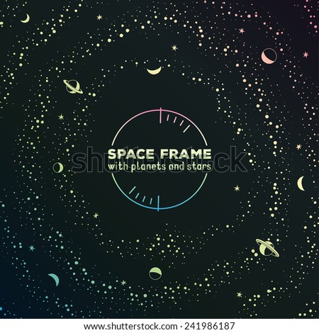 retro sci fi frame with space