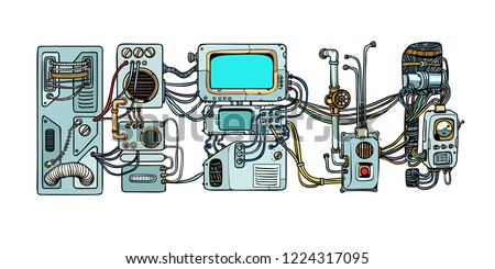 Retro science. Cyberpunk robots mechanisms and machines. Details of the spacecraft. Pop art retro vector illustration
