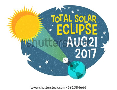 Shutterstock retro science illustration of the solar eclipse with starry night background. Web banner, card, poster or t-shirt design. vector illustration.