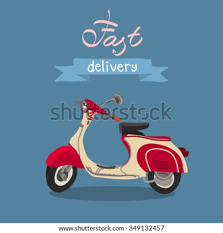 retro scooter isolated fast