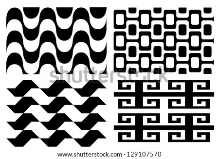 Retro seamless black and white pattern set vector.