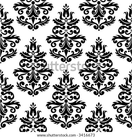 RETRO SEAMLESS DAMASK PATTERN VOL. BLACK 01