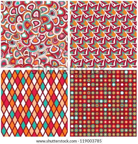Retro Seamless Geometric Pattern Set. Rhomb and Dot Background