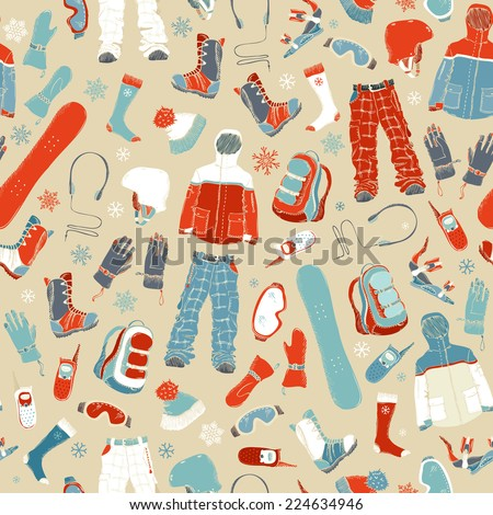 Retro seamless pattern of extreme winter sport. Snowboard clothing and kit. Active outdoor background for your design.