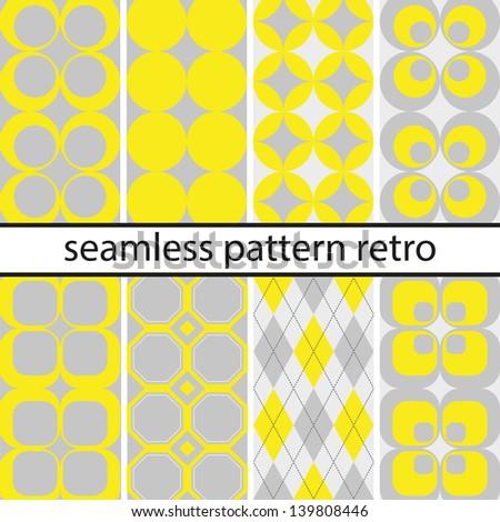 Retro seamless pattern vintage set
