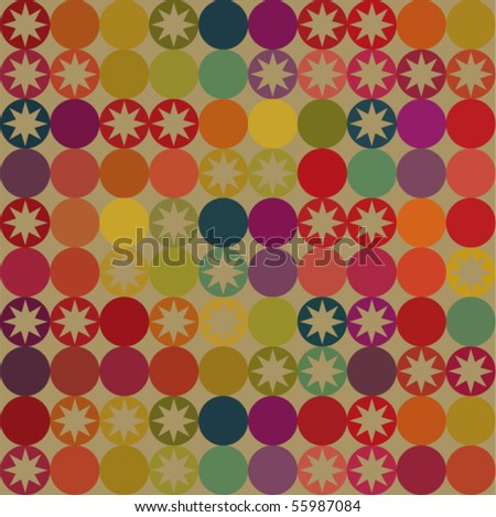 Retro seamless pattern with circles and stars. - stock vector