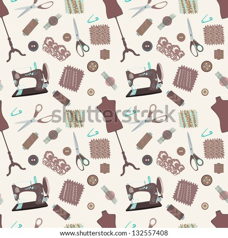 Retro seamless pattern with sewing accessories - sewing tailor and mannequins