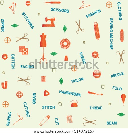 Retro seamless pattern with sewing and tailoring related symbols and words 2