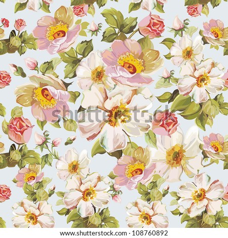 Retro seamless pattern with stylized flowers. Romantic Elegance vector illustration.