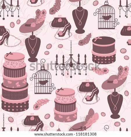 Retro seamless pattern  with women accessory. Hand drawing illustration.