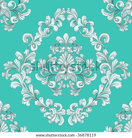 retro seamless tiling floral wallpaper pattern reminiscent of floral victorian designs inspired by greek and roman ornament.