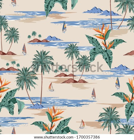 Retro seamless tropical island pattern on light beige ocean background. Landscape with palm trees,beach and ocean vector hand drawn style.Design for fashion,fabric,web,wallaper,wrapping and all prints