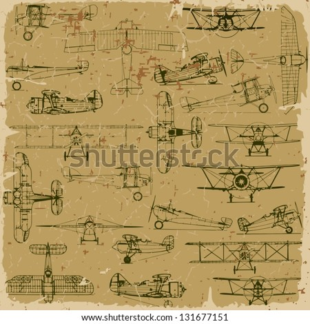 Retro seamless vintage airplanes pattern old paper Plus three objects cracked surface Grunge effects can be removed