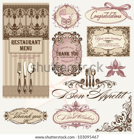 retro set, frames and decoration, vintage cutlery, great for menu cards and all kind of invitations