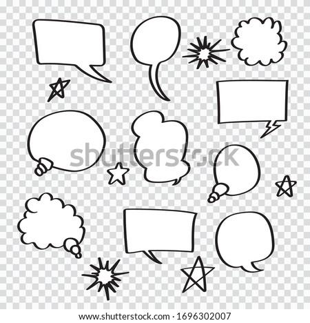 Retro Set of Comics Speech and Bubbles Cartoon Vector ,on transparent background. Vector illustration, vintage design, pop art style.