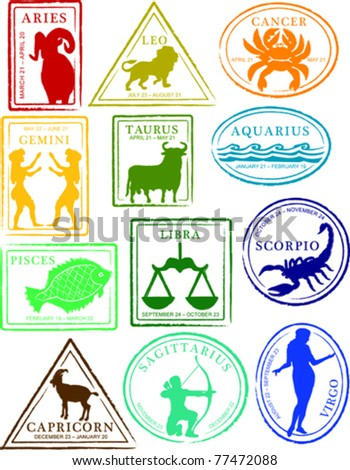 retro set of fun astrology