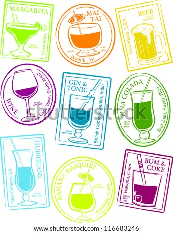 Retro Set of Fun Passport Style Cocktail Stamps Vector Illustration - stock vector
