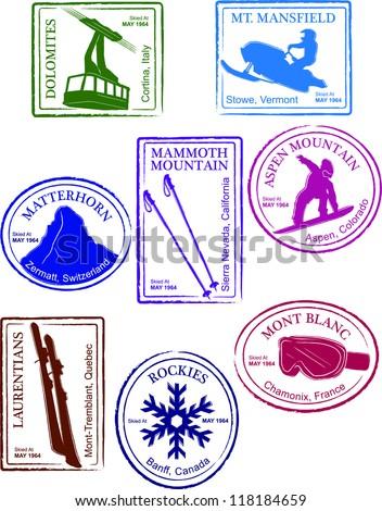 Retro Set of Fun Passport Style Ski Resort Stamps Vector Illustration