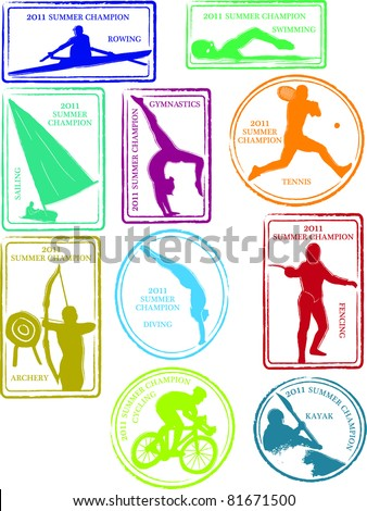 Retro Set of Fun Summer Sports Passport Stamps Vector Illustration