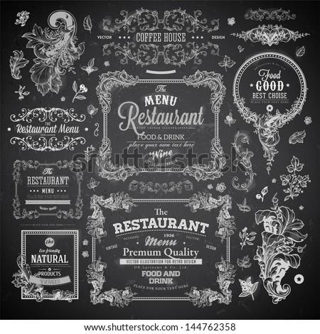 Retro set of labels for restaurant menu design. Vintage floral frames with antique flowers. Engraving hand drawn style. Detailed elements. Vector eps10 illustration. Chalkboard version.
