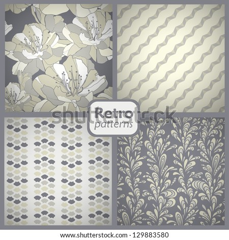 Retro set of 4 seamless vector patterns.