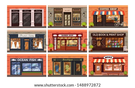Retro shop store facade with storefront large window, columns and brick wall set. Facade residential building front view jewelry barber boutique wedding seafood book coffee shop. Vector illustration