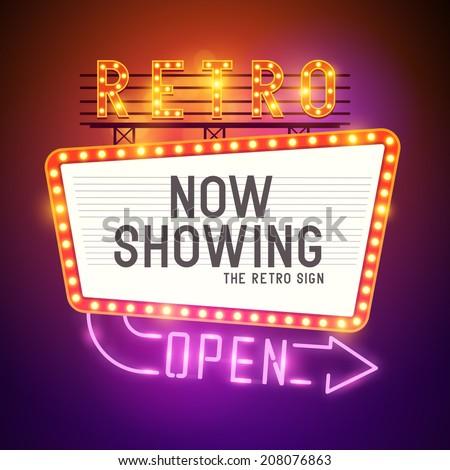 retro showtime sign theatre