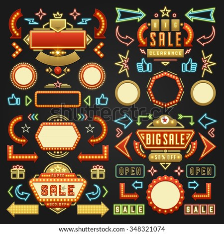 retro showtime signs design