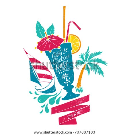 Retro Sign with Hand-drawn Illustration of Cocktail Glass, Palm Tree and Sailing Boat