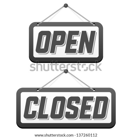 Retro signs Open and Closed. Vector illustration.
