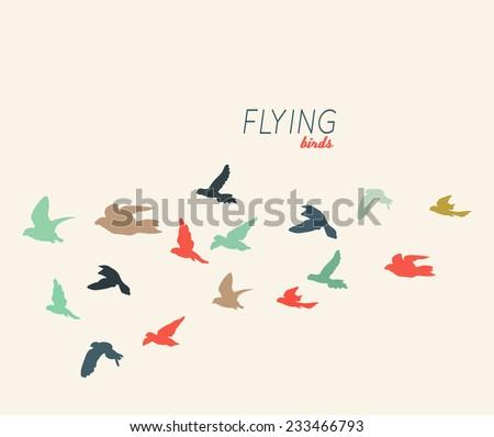 Retro silhouettes of flying birds, vector illustration