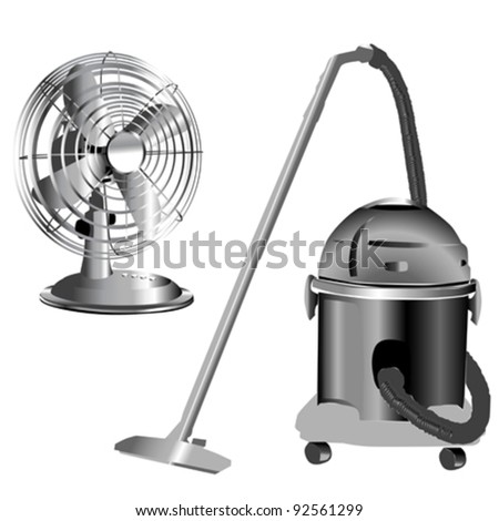 retro silver wind fan and vacuum cleaner isolated on white