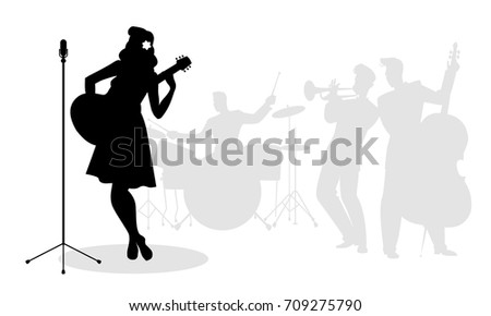 retro singer woman guitarist