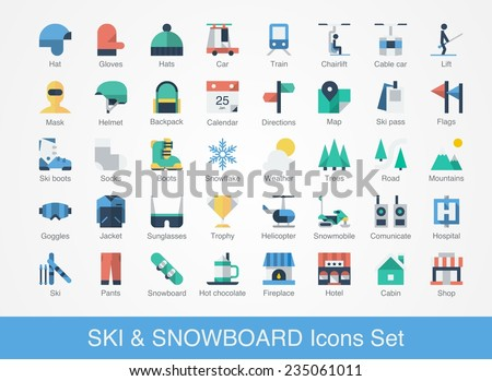 retro ski and snowboard icons