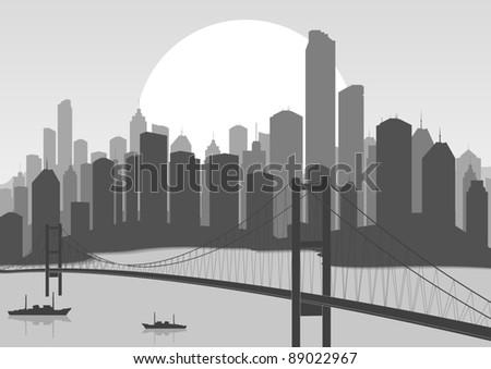 retro skyscraper city bridge