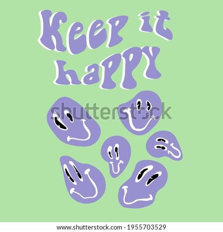 retro slogan print with smile