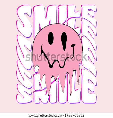 Retro slogan print with smile face - Hipster graphic vector pattern for tee - t shirt and sweatshirt Stockfoto ©