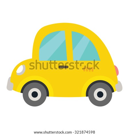 Retro small car icon. Funny vintage yellow car for children puzzle design. Mobile game style outline cartoon vector eps 10 illustration on white background. Baby's first year book illustration.