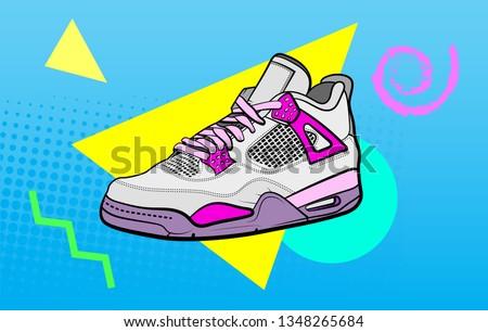 retro sneaker vector