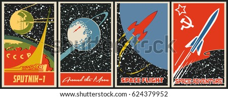 Retro Soviet Propaganda Space Posters