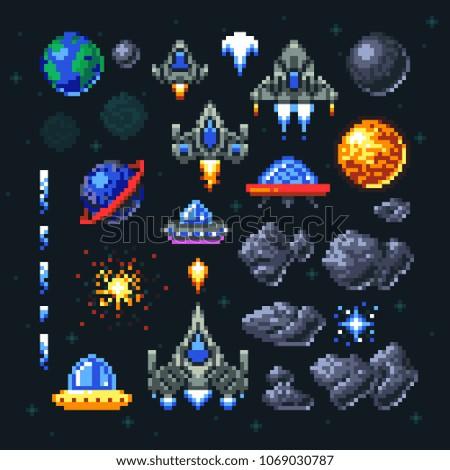 retro space arcade game pixel