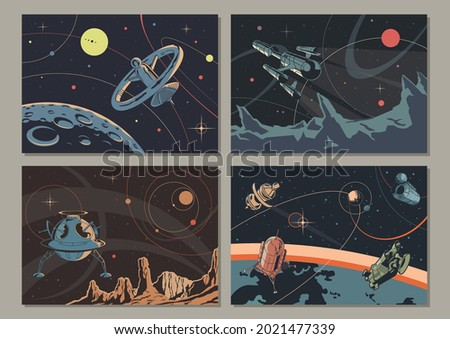 Retro Space Illustration Set, Retro Future Posters, Sci Fi Book Covers Stylization, Alien Planets Landscapes, Spaceships and Orbital Stations Foto stock ©
