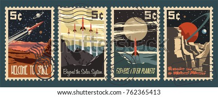 Retro Space Postage Stamps. Stylization under the American Mid Century Postmark