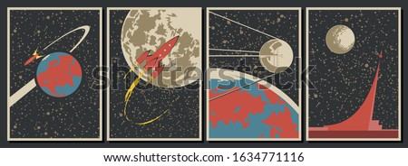Retro Space Poster Stylization, USSR and USA Space Programs, Retro Future Spacecraft, Vintage Colors